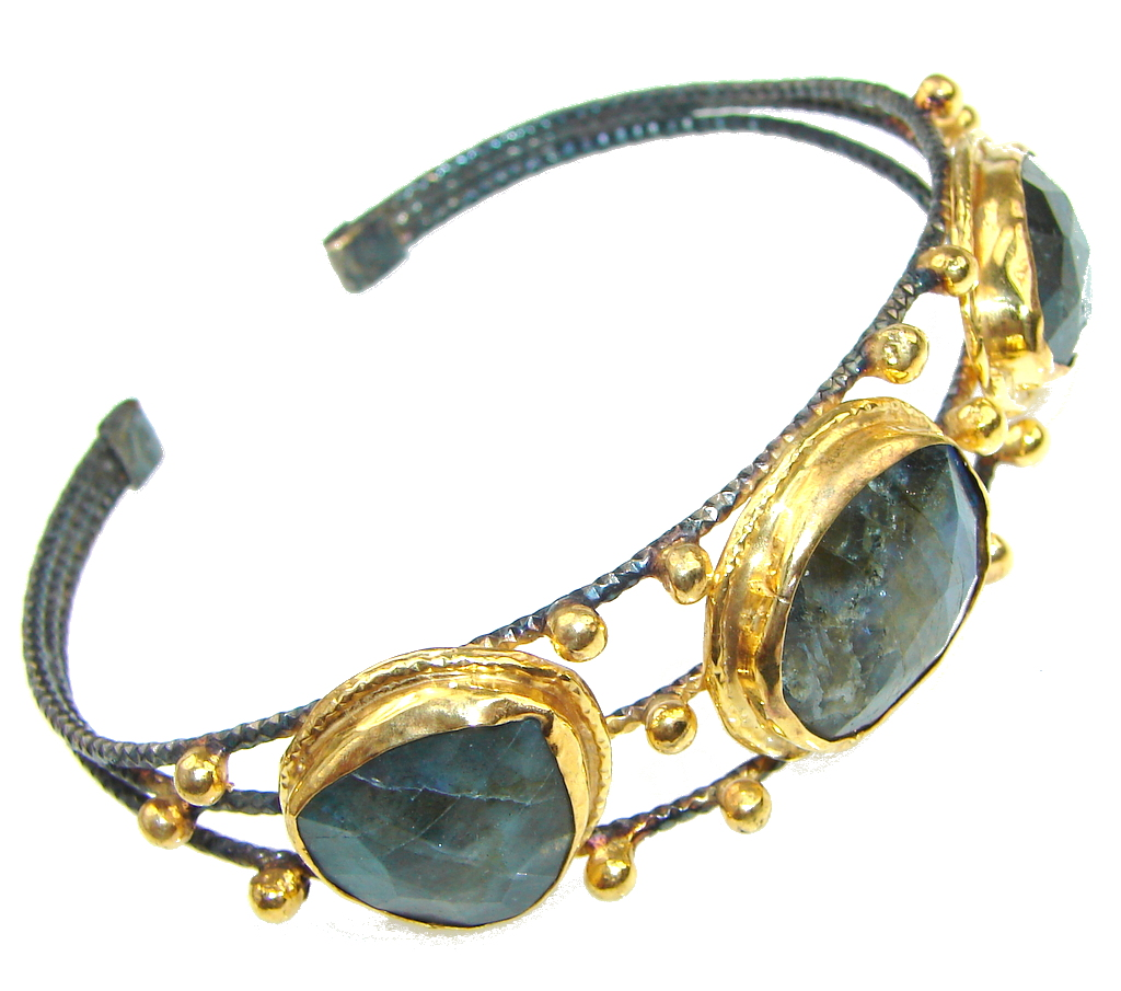 Italy Made! Stunning Blue Labradorite, Rhodium Plated, Gold Plated Sterling Silver Bracelet / Cuff