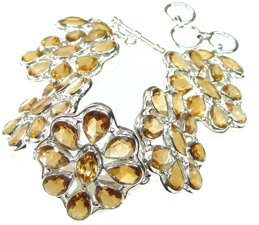 Touch Of Life! Yellow Citrine Sterling Silver Bracelet