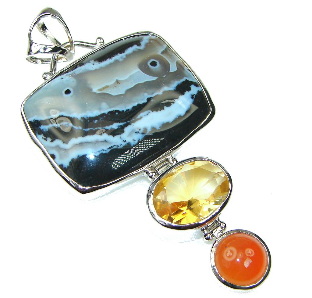 Big! Pale Beauty Ocean Jasper Sterling Silver Pendant
