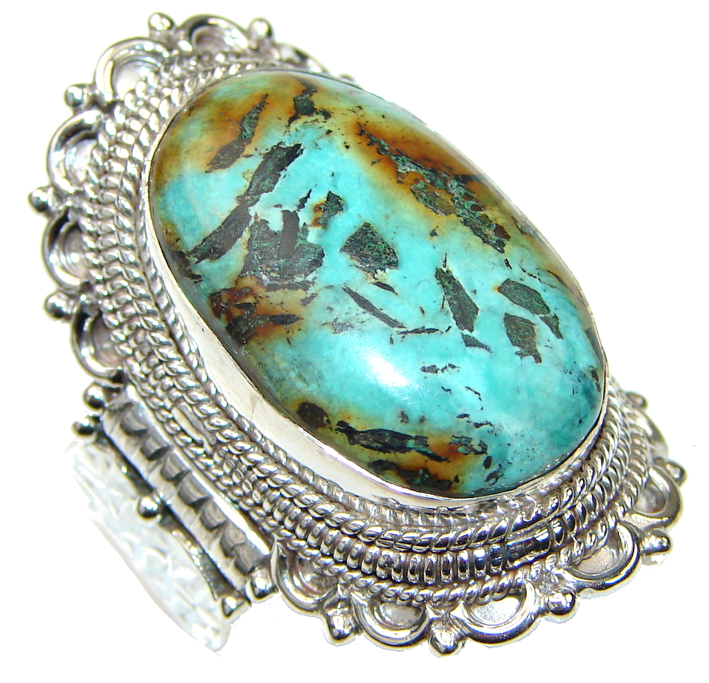 Big! Corrico lake Turquoise Sterling Silver ring s. 11