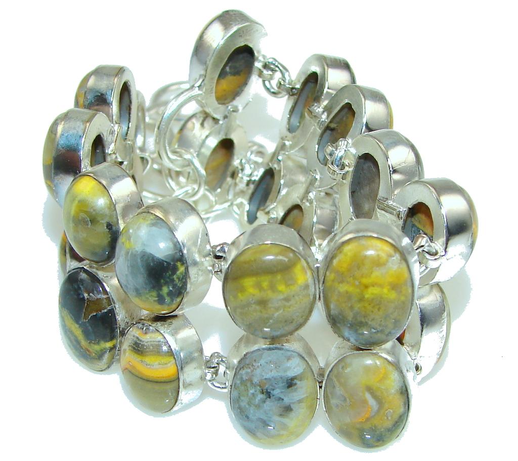 Special Yellow secret! Bumble Bee Jasper Sterling Silver Bracelet