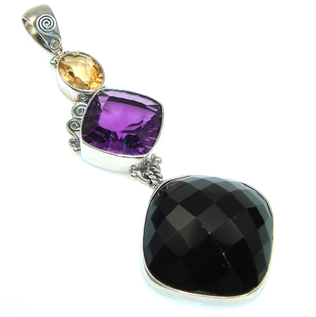Big! Excellent Black Onyx  Sterling Silver Pendant