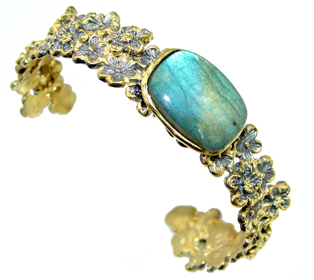 Italy Made! Amazing Blue Labradorite, Rhodium Plated, Gold Plated Sterling Silver Bracelet / Cuff