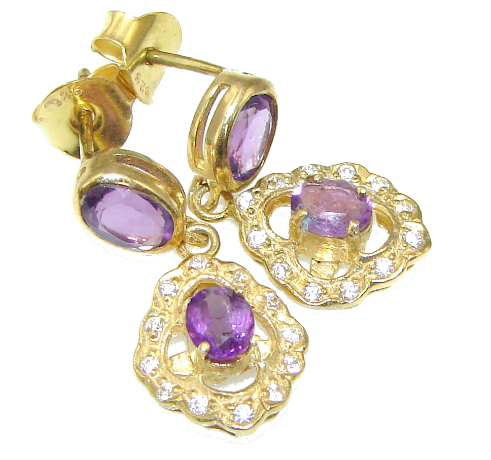 Amazing! Amethyst, White Topaz, Gold Plated Sterling Silver earrings