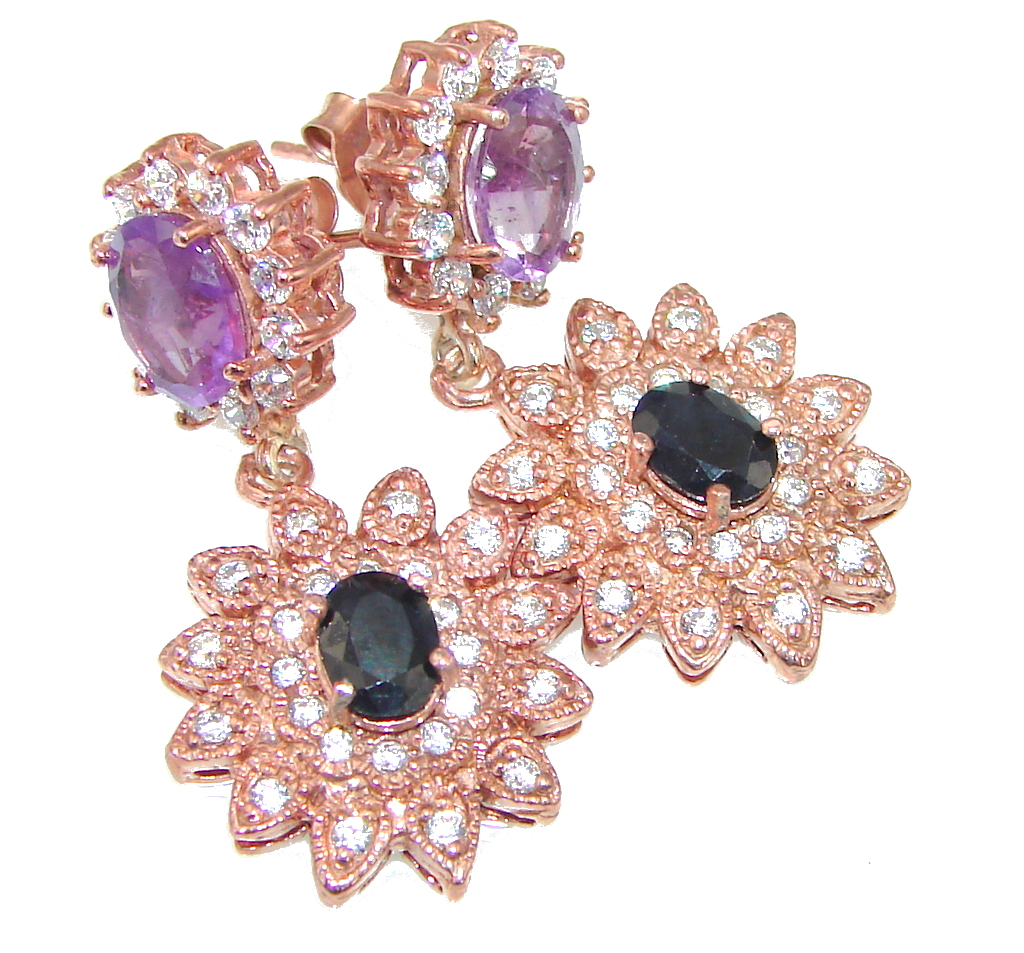 Stunning! Amethyst, Sapphire, White Topaz, Rose Gold Plated Sterling Silver earrings