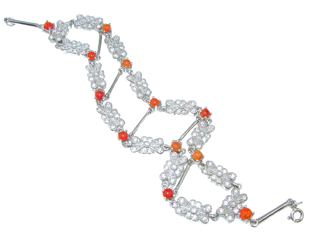 Gorgeous Design! Orange Sapphire, White Topaz Sterling Silver Bracelet
