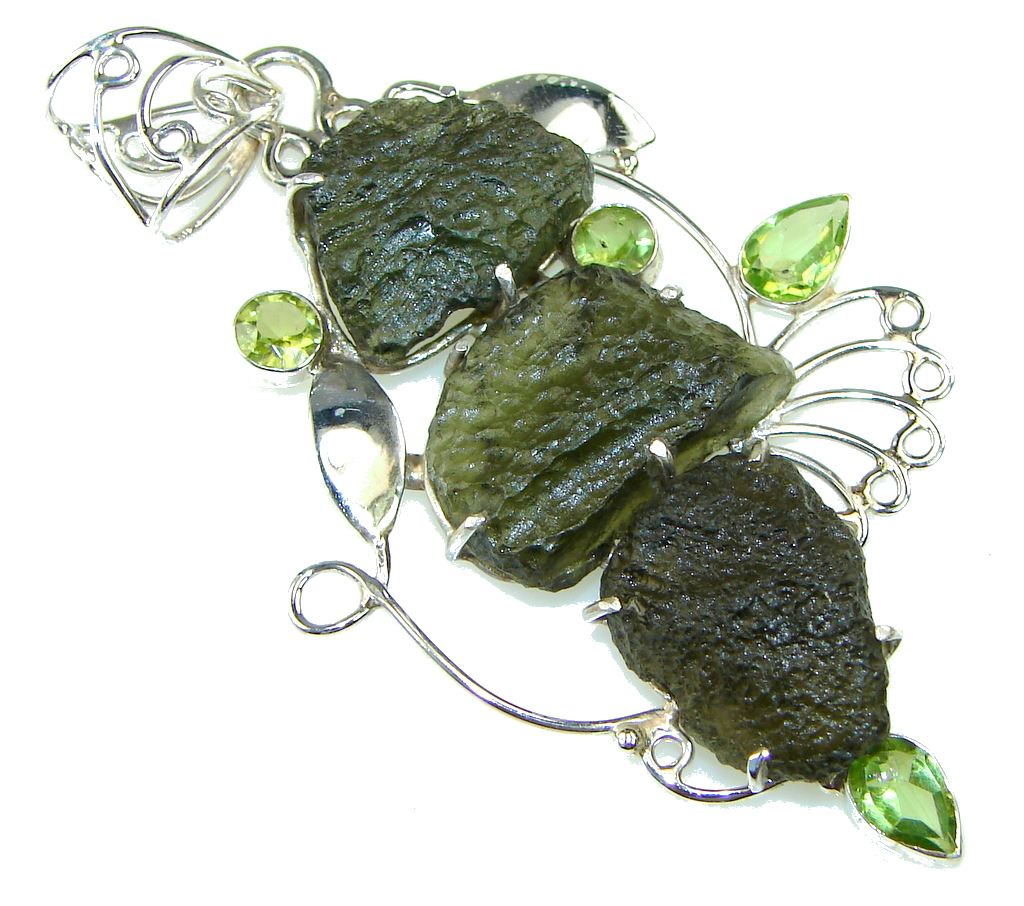 Excellent! Green Moldavite, Peridot Sterling Silver Pendant