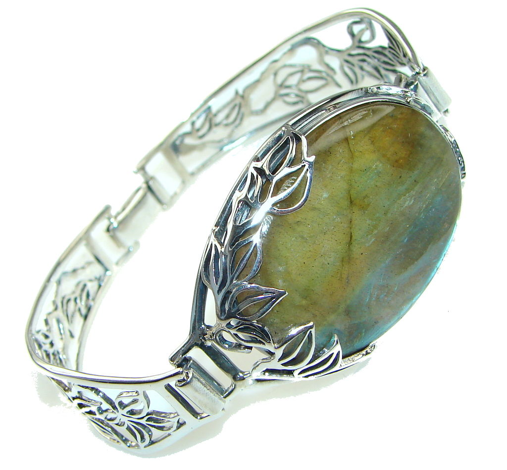 Mystical Eye! Blue Fire Labradorite Sterling Silver Bracelet