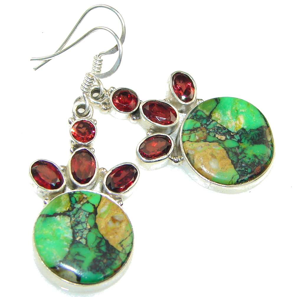 Classy Green Turquoise, Garnet Quartz Sterling Silver earrings
