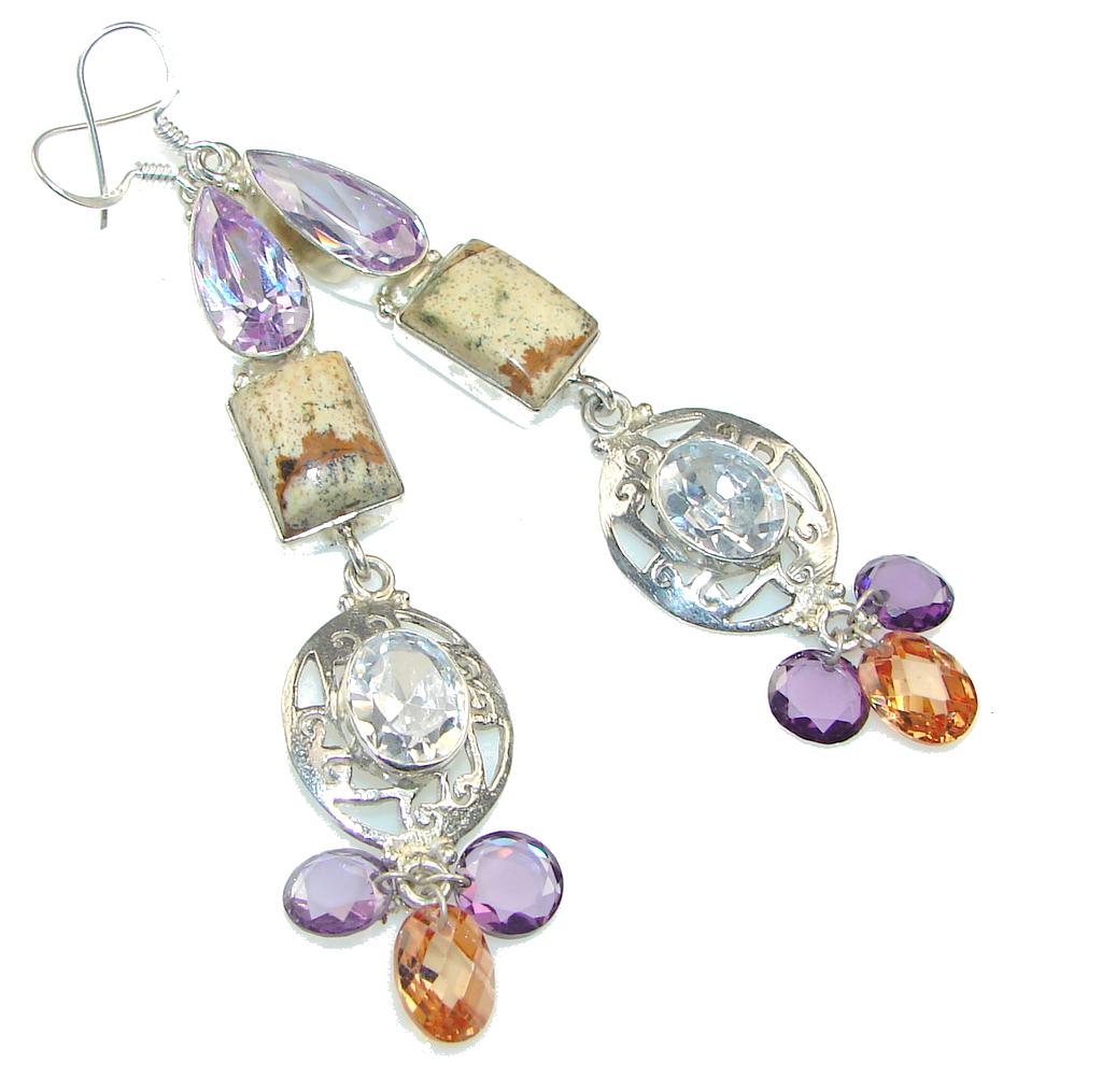 Fashion Design! Picture Jasper, Quartz Sterling Silver earrings / Long