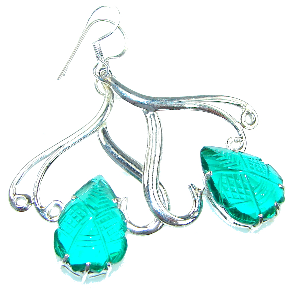 Charming! Created Green Emerald Sterling Silver earrings