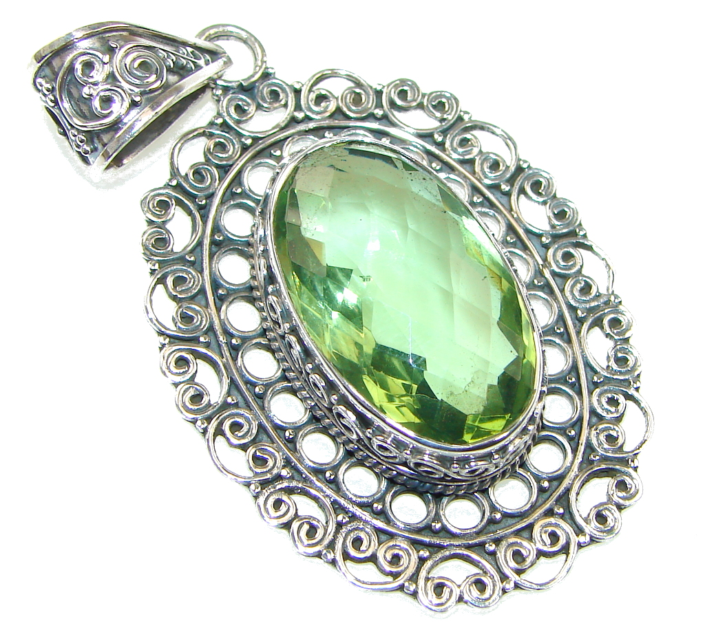 Bali Secret! Green Amethyst Quartz Sterling Silver Pendant