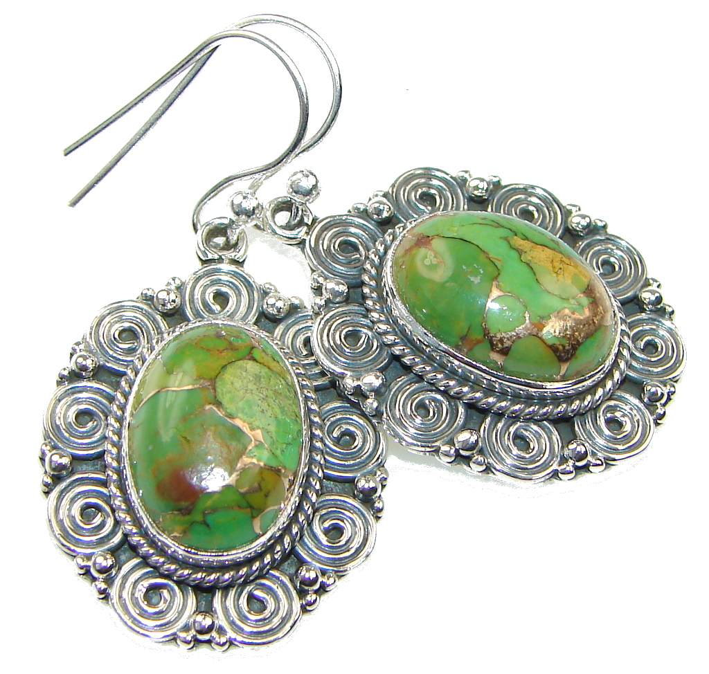 Image of Delicate! Green Copper Turquoise Sterling Silver earrings