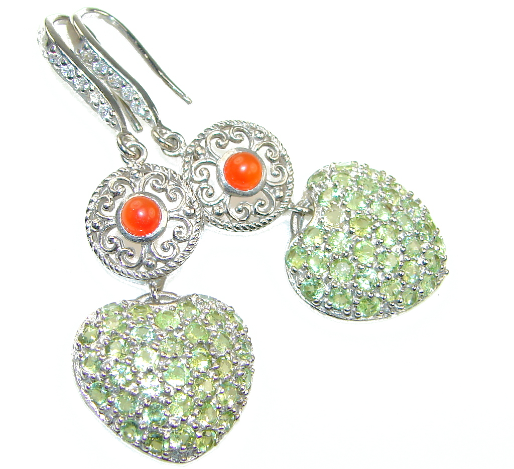 Bali Style! Green Peridot, Orange Carnelian Sterling Silver earrings