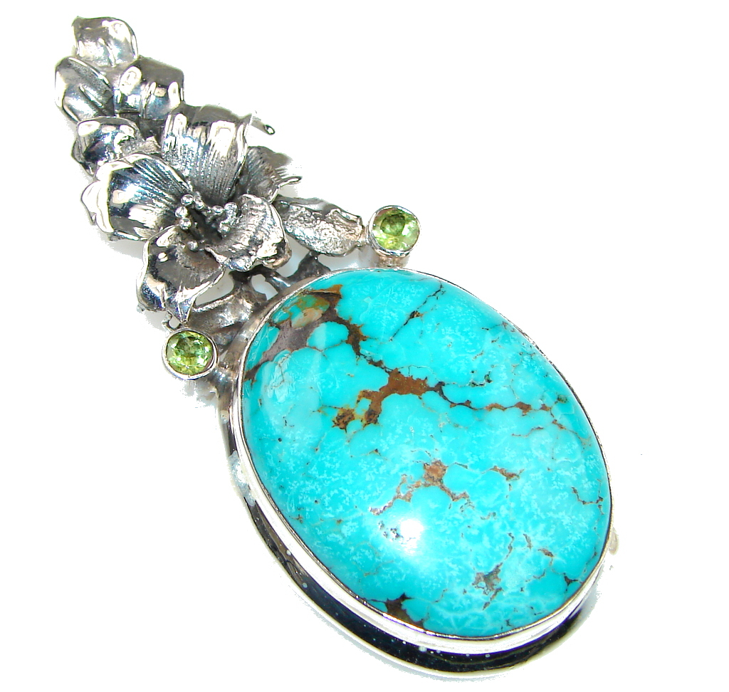 Bali Style! Blue Turquoise Sterling Silver Pendant