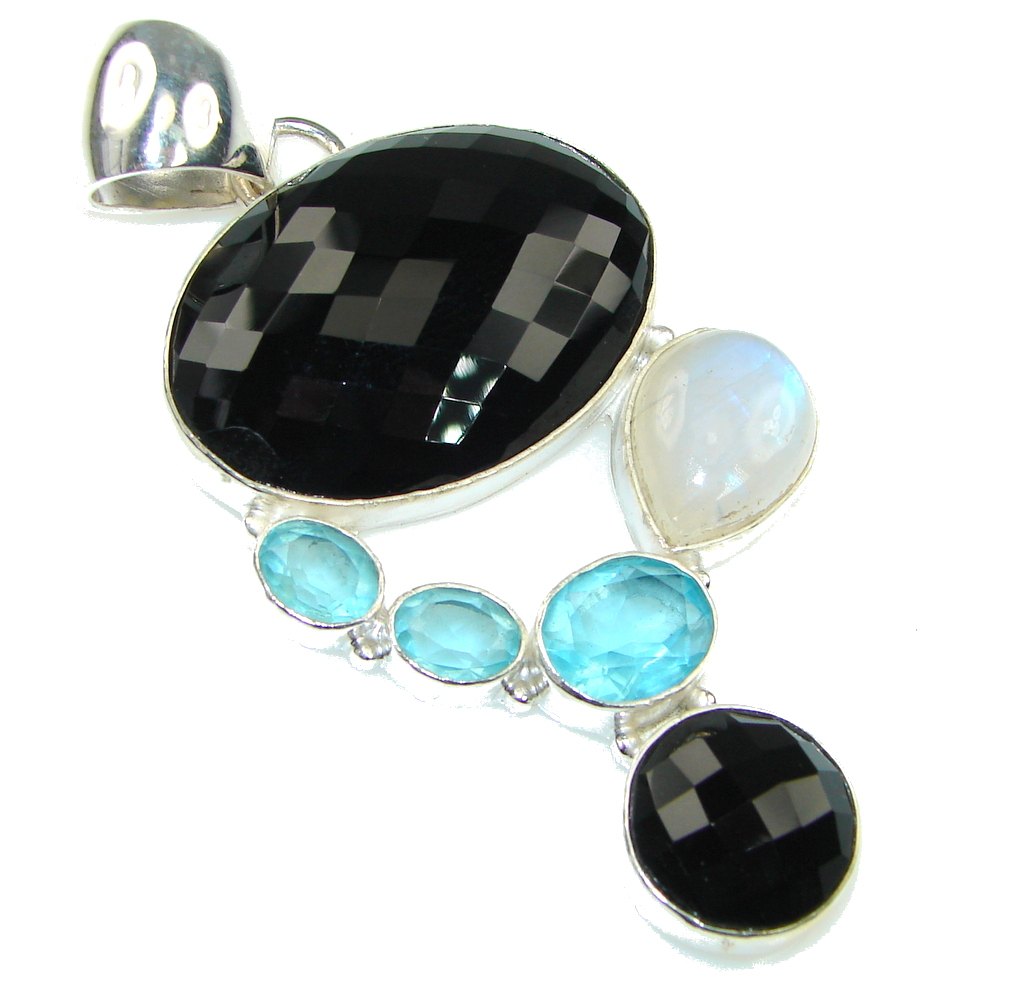 Big! Charming Black Onyx, Swiss Blue Topaz, Moonstone Sterling Silver Pendant