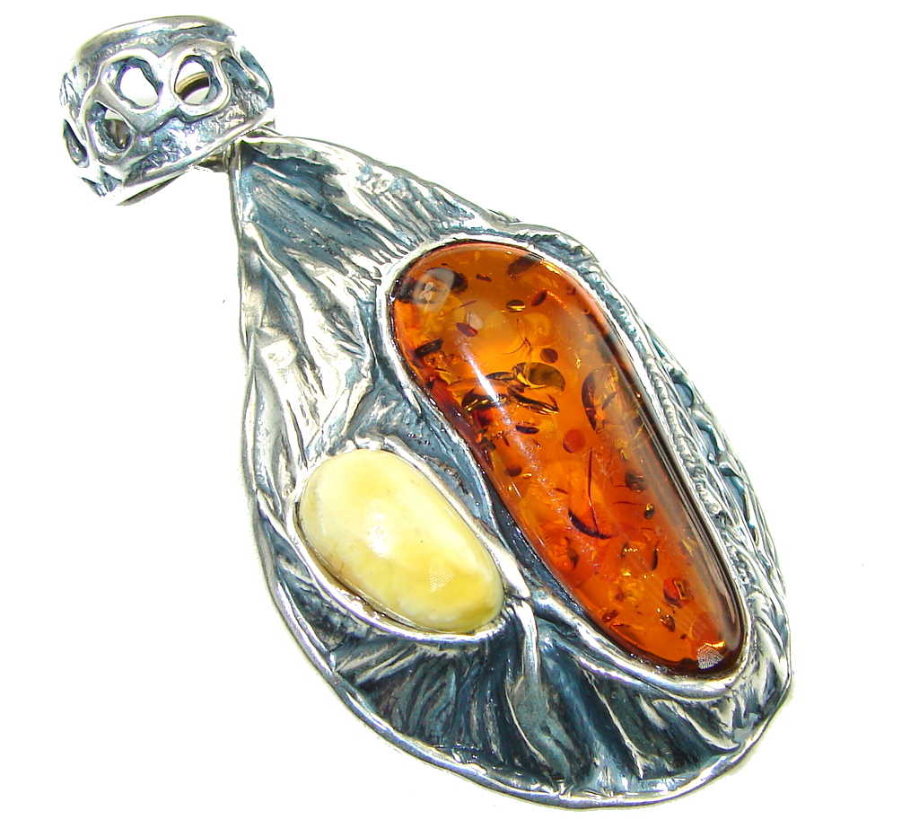 Vintage Style! Butterscotch   Brown Amber Sterling Silver Pendant