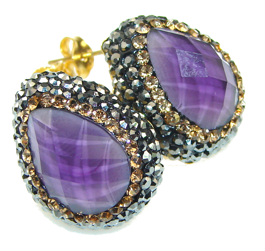 marcassite.com view the photo of  Turkish Style! Purple Amethyst, Citrine Sterling Silver earrings