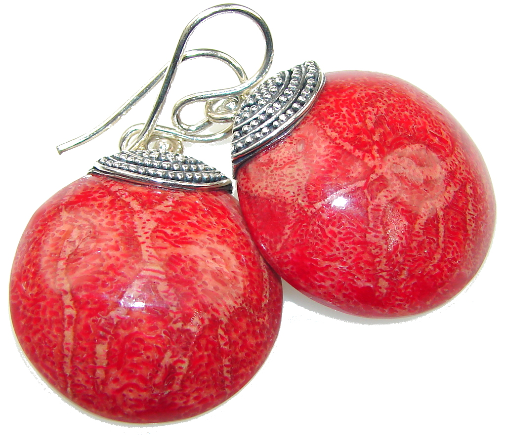 True Love! Red Fossilized Coral Sterling Silver earrings