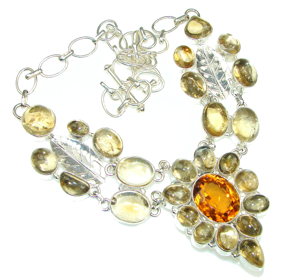 Perfect Design! Golden Rutilated Quartz, Honey Topaz Sterling Silver necklace