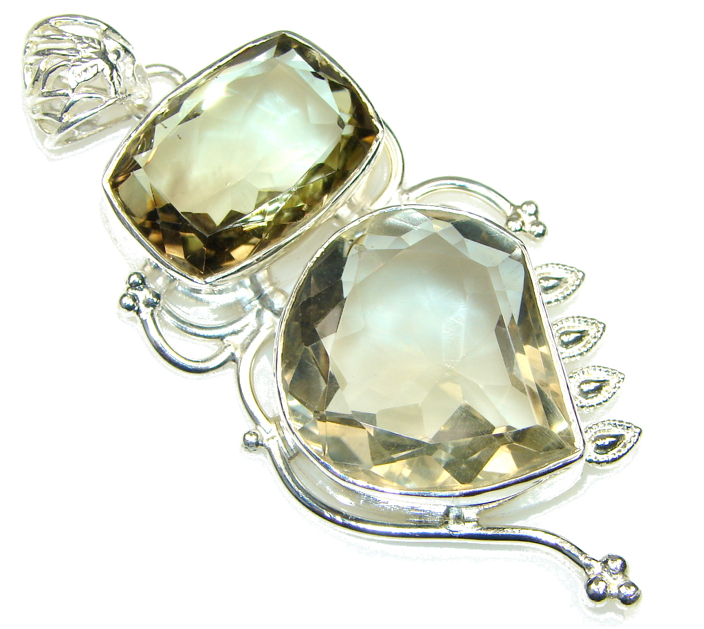 Big! Love's Light! Delicate Yellow Citrine Sterling Silver Pendant
