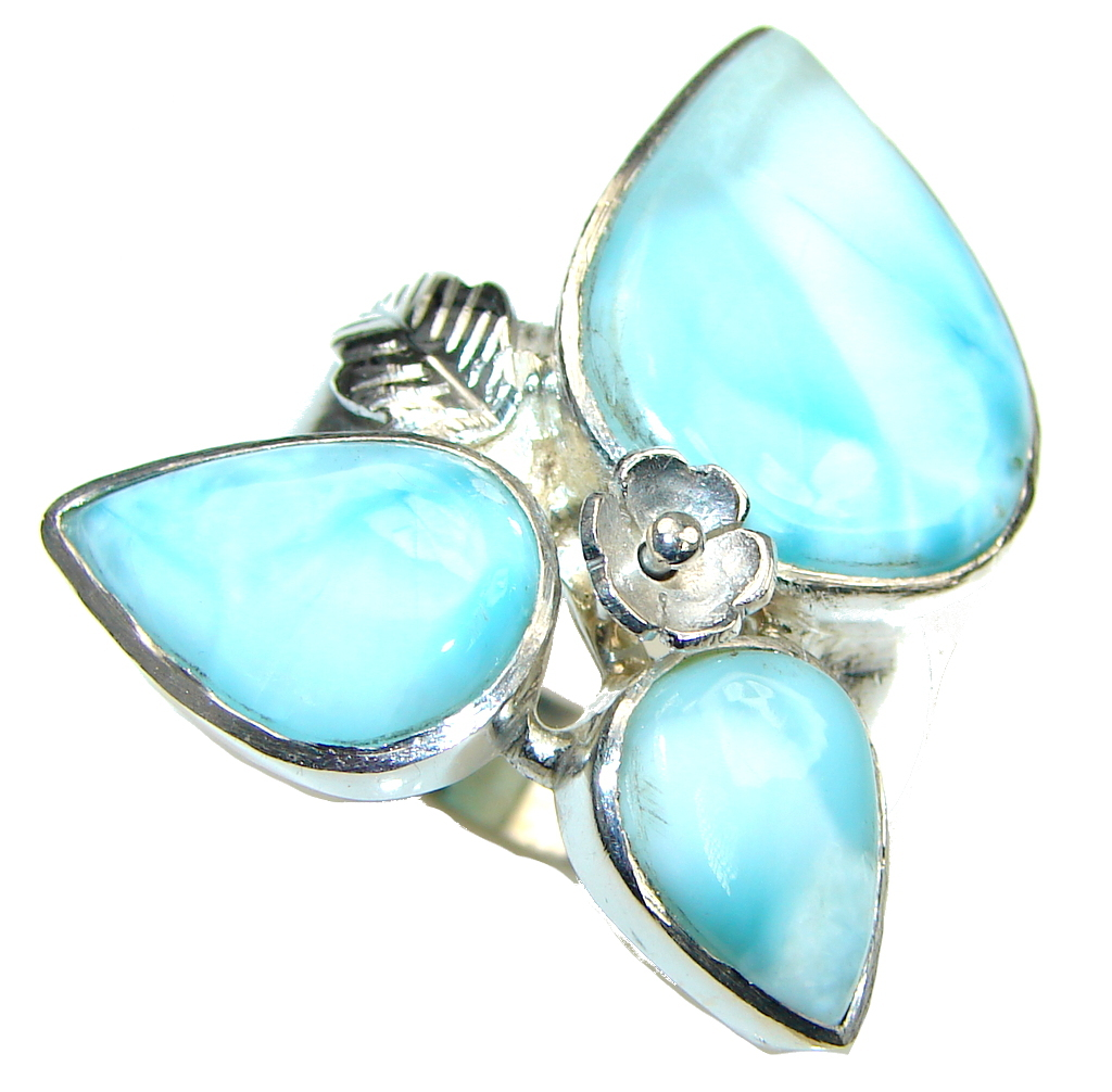 Just Perfect! AAA Blue Larimar Sterling Silver Ring s. 11