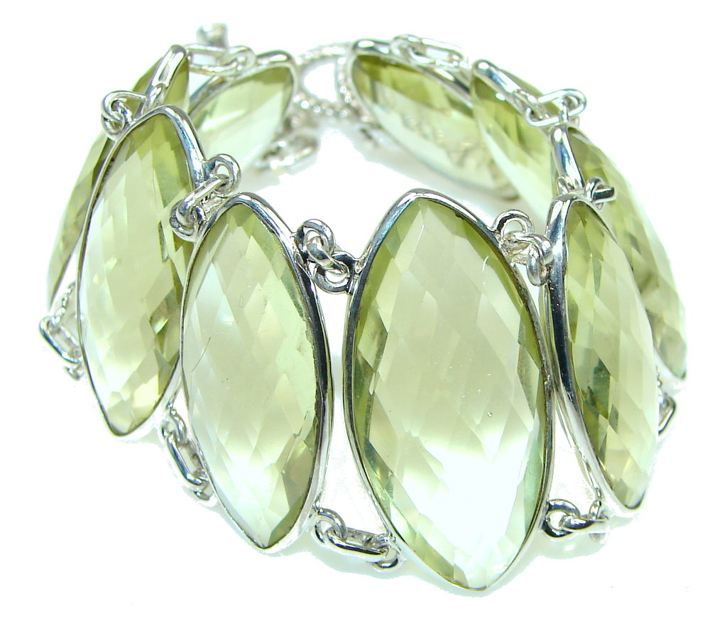 Chunky Yellow Created Citrine Sterling Silver Bracelet