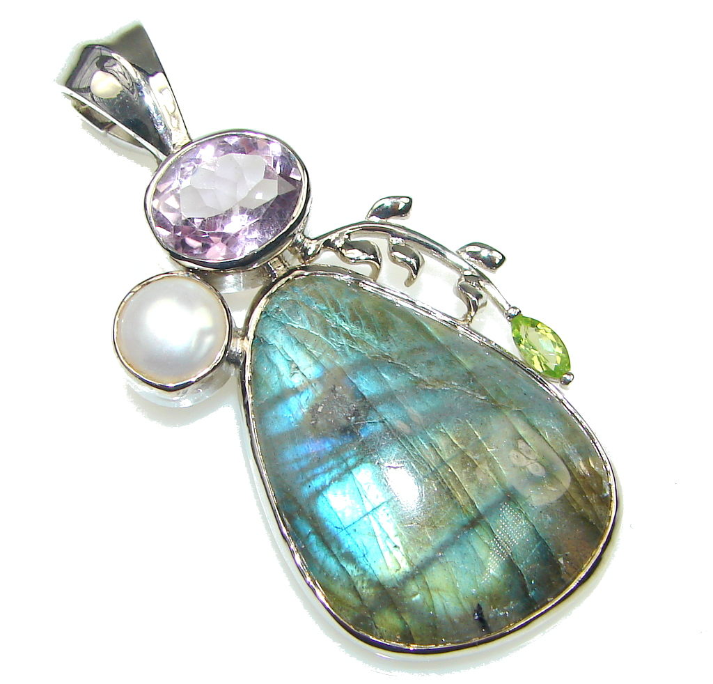 Exclusive! AAA Blue Labradorite Sterling Silver Pendant