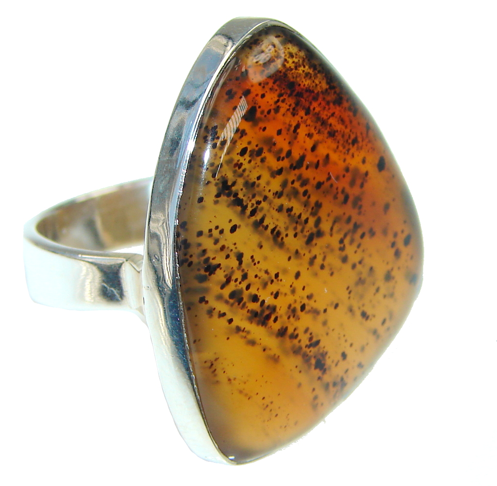 Amazing   Germany Psilomelane Dendrite Sterling Silver Ring s. 8