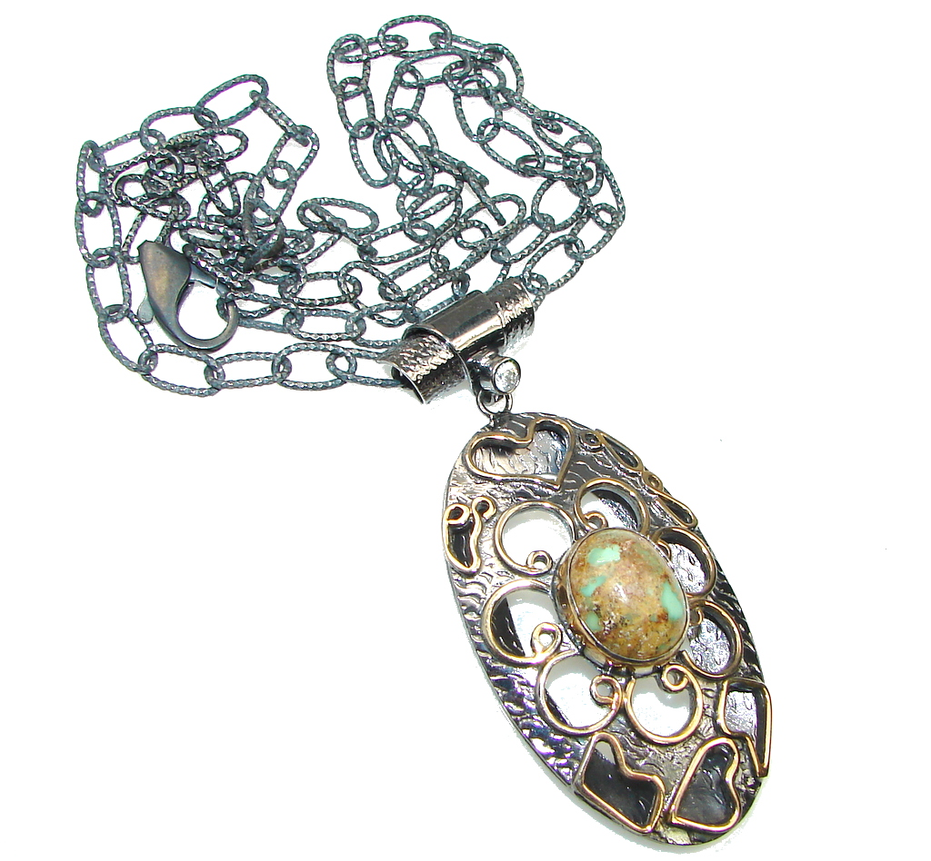 Gallery Piece Corrico Lake Green Turquoise, Rhodium Plated, Gold Plated Sterling Silver Necklace