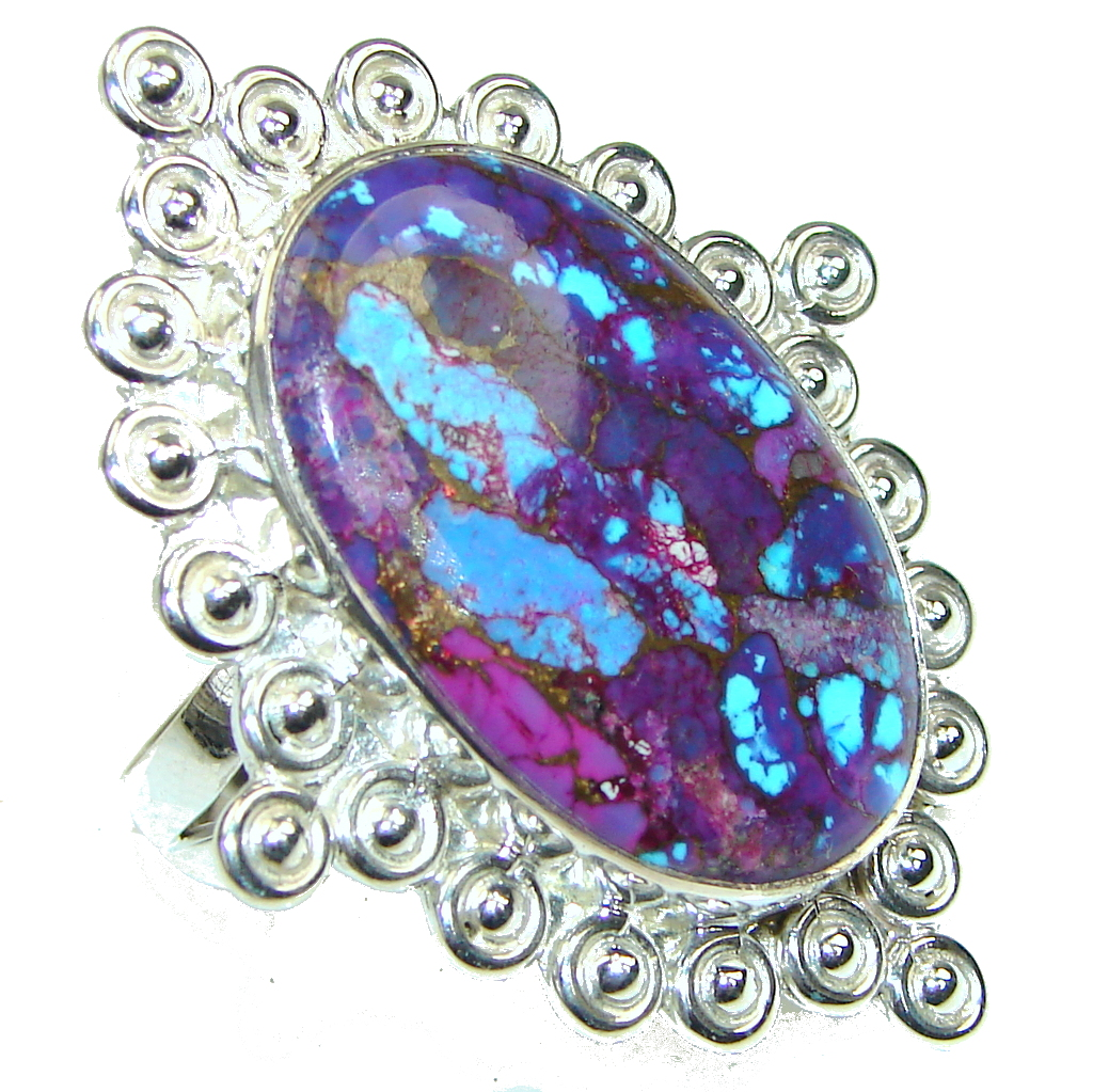 Big! Fantastic Multicolor Copper Turquoise Sterling Silver ring s. 12