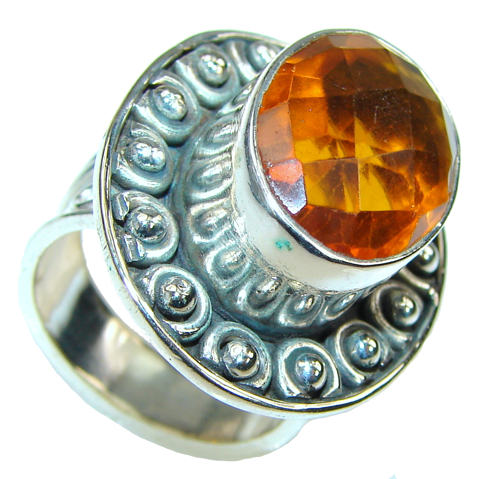 Amazing! Honey Topaz Quartz Sterling Silver Ring s. 8