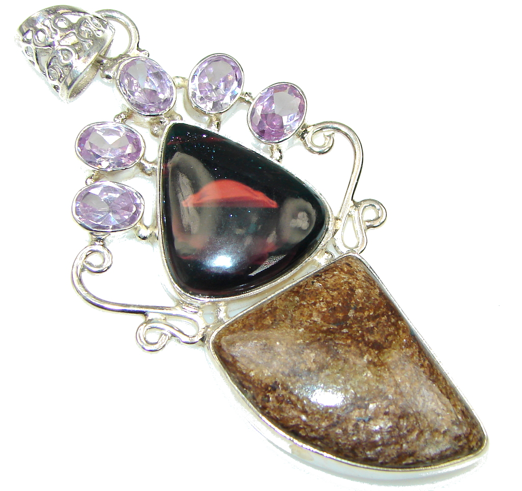Big! Pale Beauty! Gold Pietersite Sterling Silver pendant