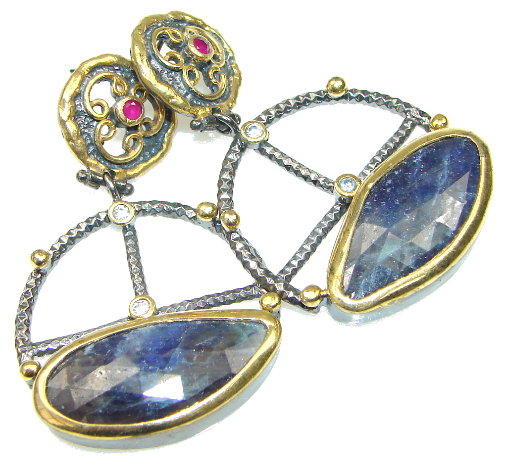 Large! Italy Made Blue Sapphire, White Topaz, Ruby, Rhodium Platedf, Gold Plated Sterling Silver earrings