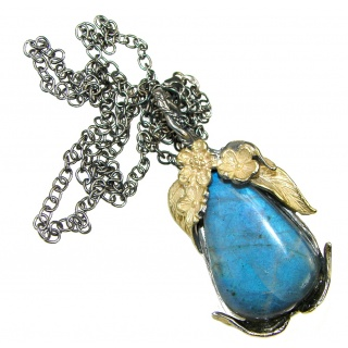 Great Design! Two Tones Fire Labradorite Sterling Silver necklace