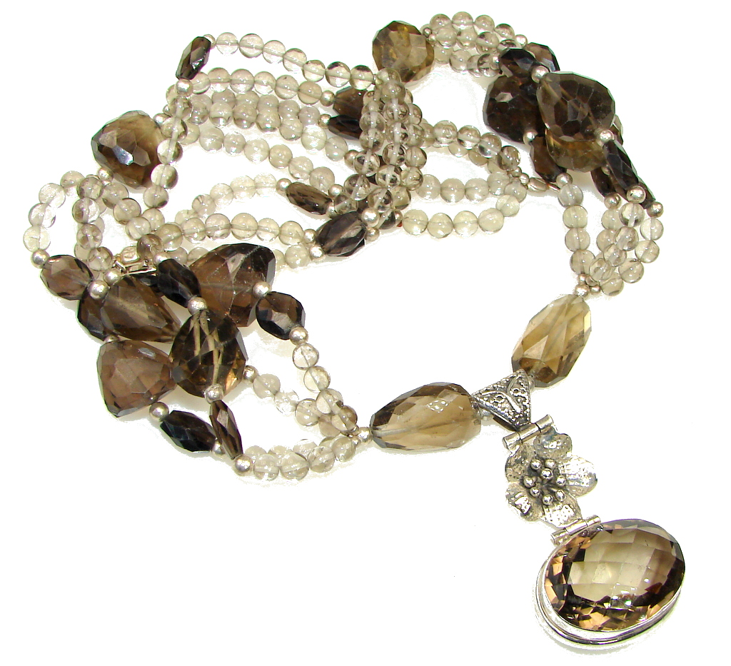 Galaxy Queen! Brown Smoky Topaz Sterling Silver necklace