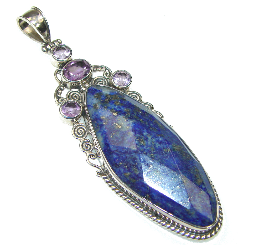 Big! Royal Blue Lapis Lazuli Sterling Silver Pendant