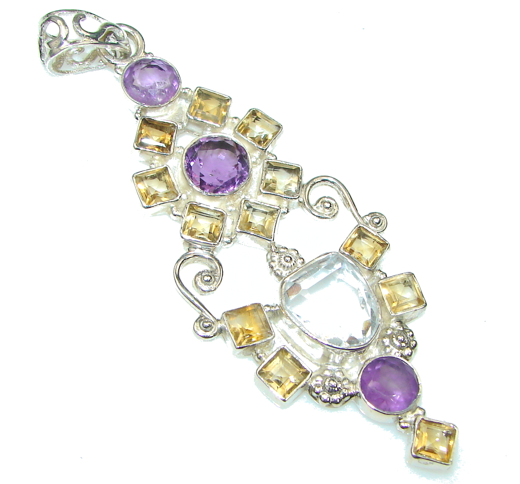 Big! Paths Of Love! Purple Amethyst, Citrine, White Topaz Sterling Silver Pendant