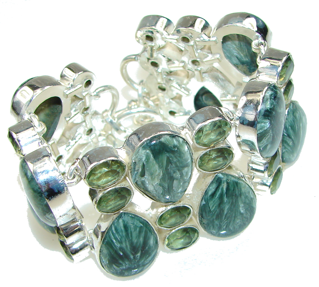 Queen Of Nature! Green Seraphinite, Peridot Sterling Silver Bracelet