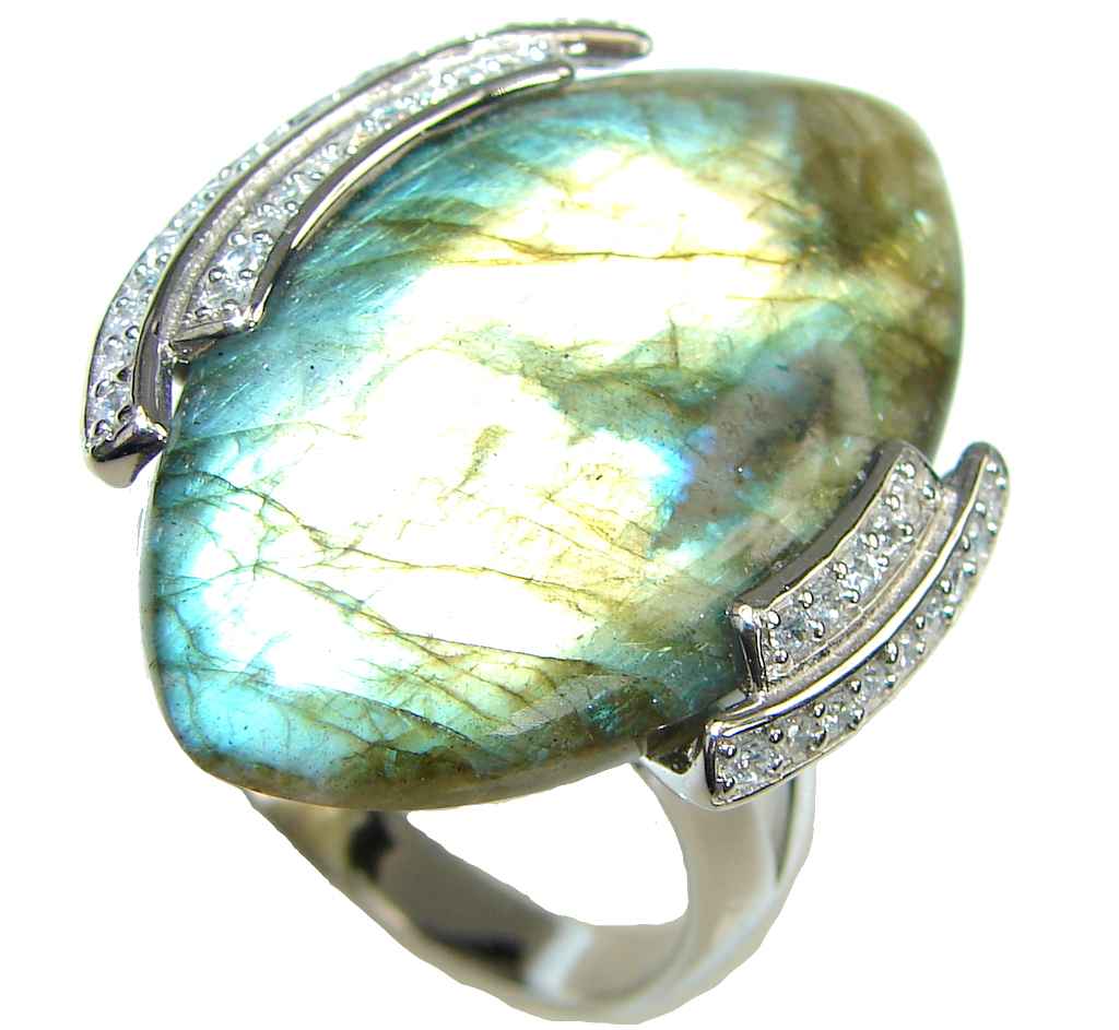 Faith In Love! Blue Labradorite Sterling Silver ring s. 11 1/4