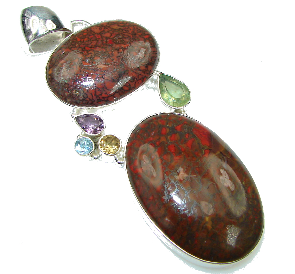 Large! Opening Night! Red Bloodstone Sterling Silver Pendant
