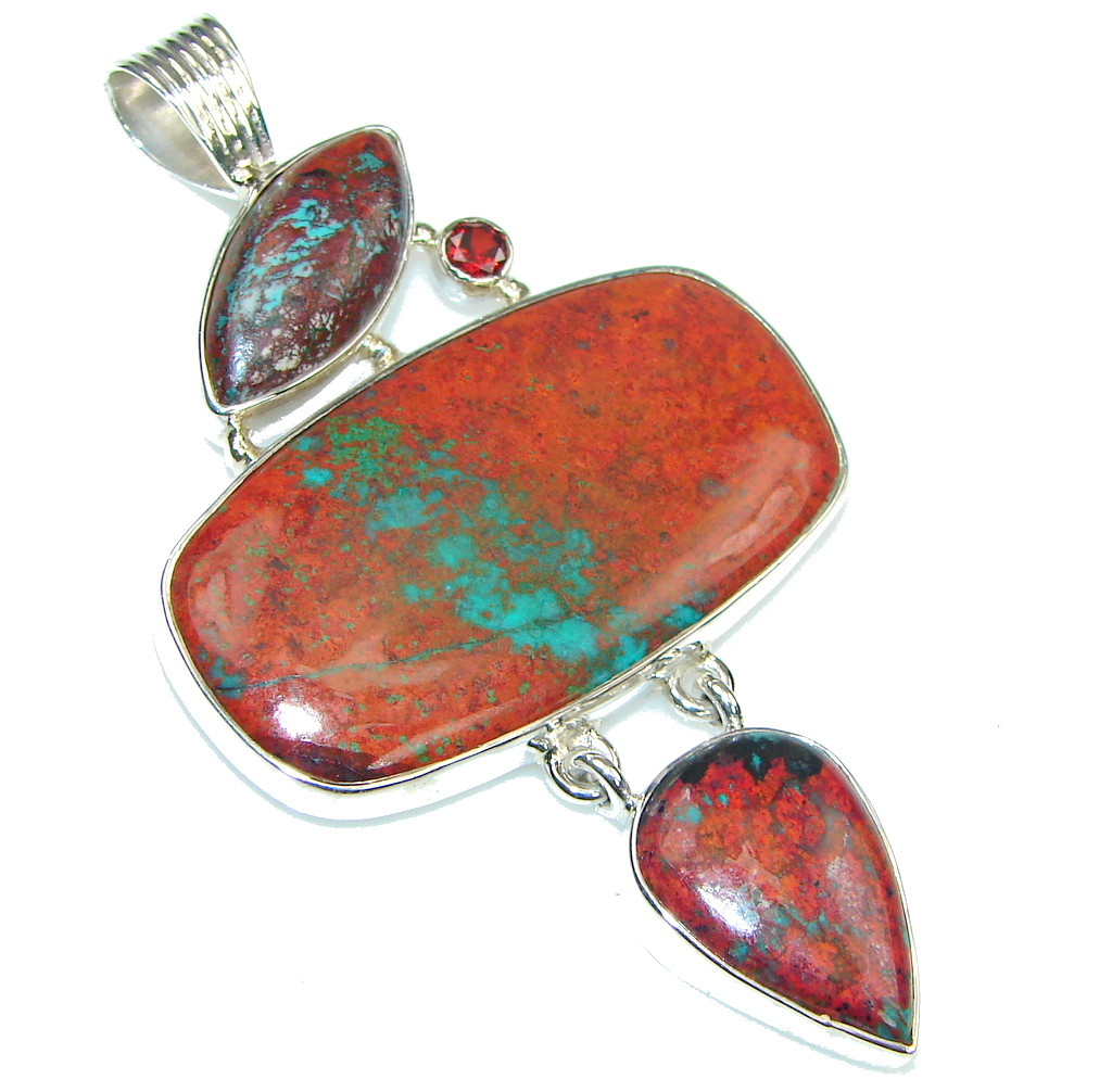 Big! In My Heart! Red Sonora Jasper, Garnet Sterling Silver Pendant