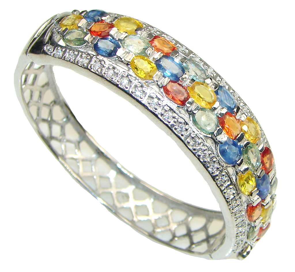 Beautiful Design! Multicolor Sapphire & White Topaz Sterling Silver Bracelet