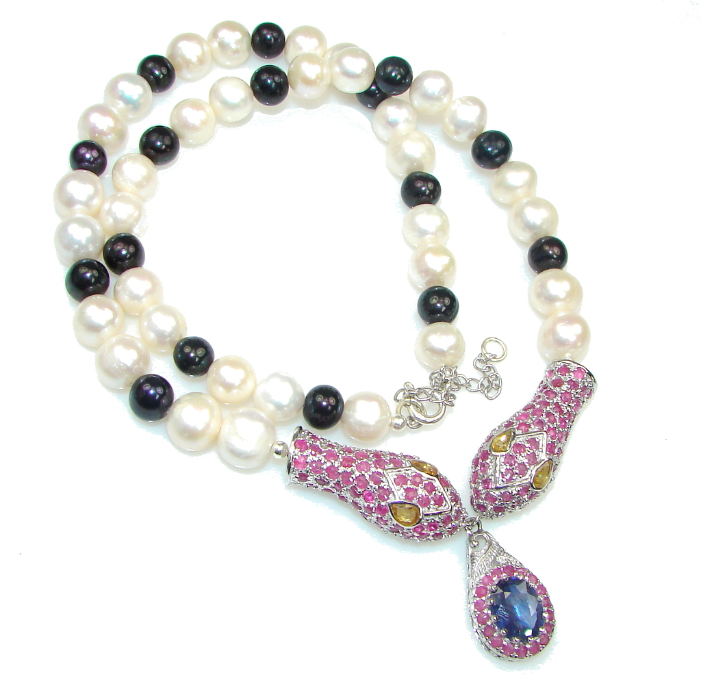 Exclusive! Fresh Water Pearl & Ruby & Sapphire Sterling Silver Necklace