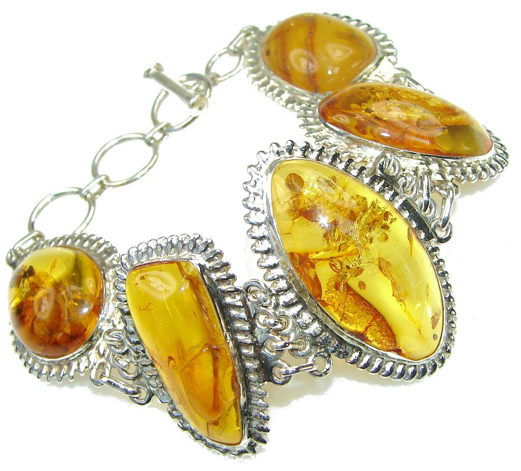 Natural Polish Baltic Amber Sterling Silver Bracelet