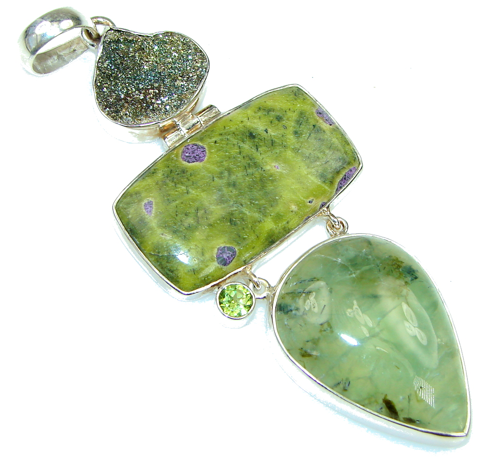 Large Green Island Atlantisite Sterling Silver pendant