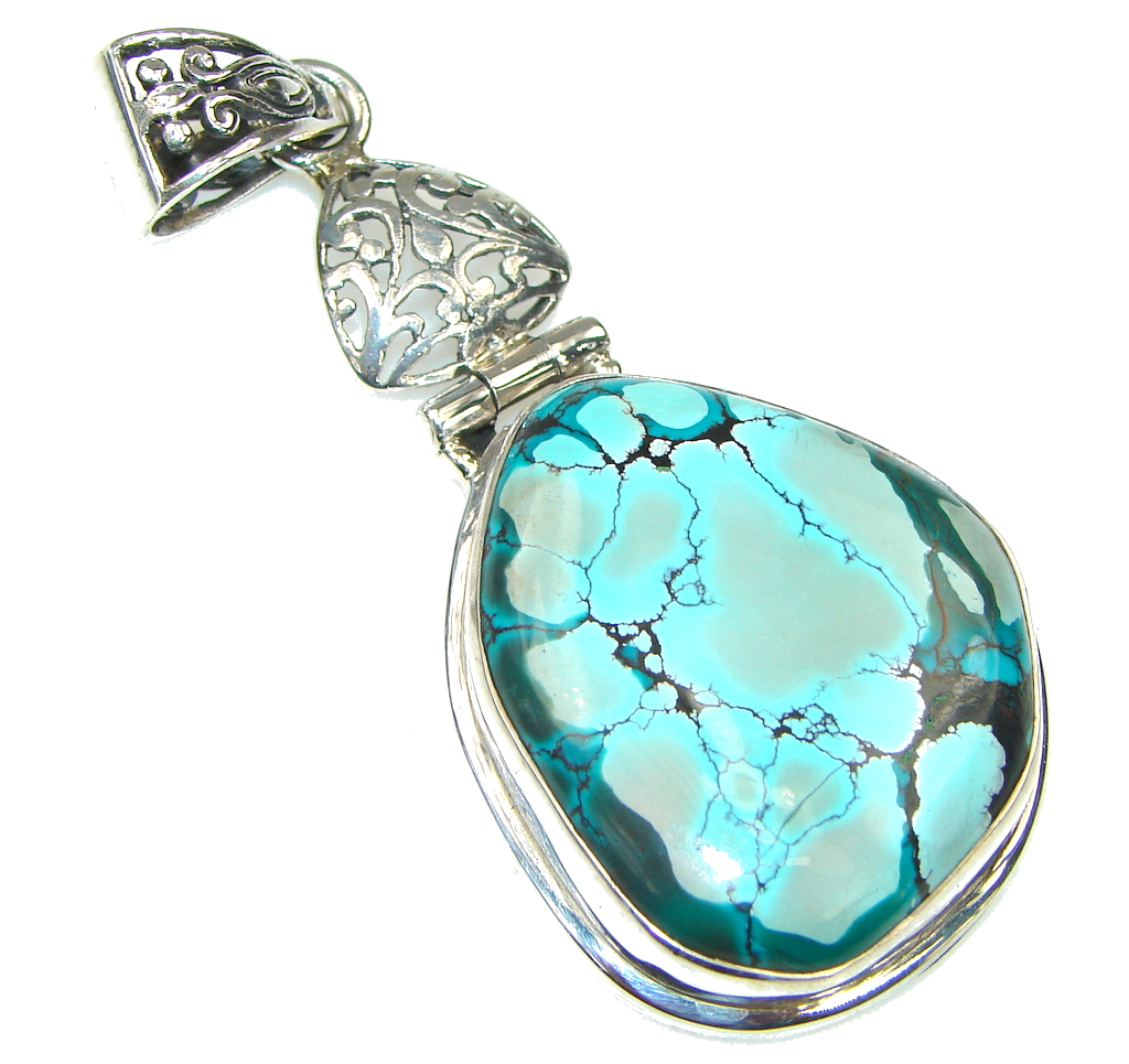 Amazing Design! Blue Turquoise Sterling Silver Pendant