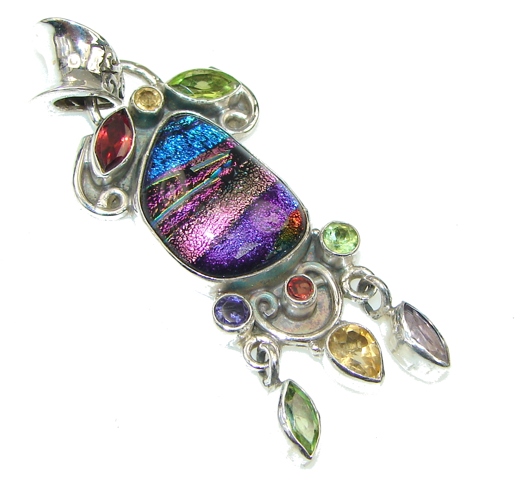 Aura Of Beauty! Mexican Dichroid Glass Sterling Silver pendant