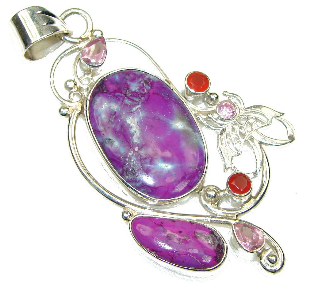 Big! Fabulous Design! Purple Turquoise Sterling Silver Pendant