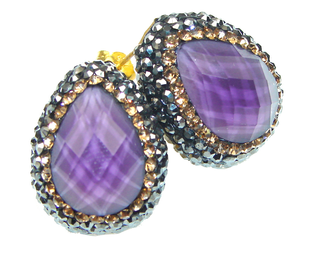 Amazing! Created Purple Amethyst & Citrine & Marcasite Sterling Silver earrings